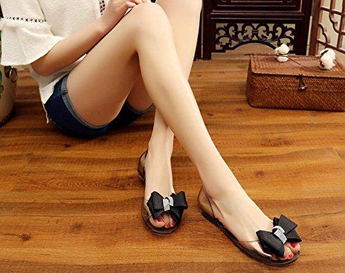 Pantofole Estate e Trasparente Primavera Crystal Shoes Bright Bow Scarpe Ragazze Sandali Black DANDANJIE Diamond Shoes Jelly Donna Moda aZqpx