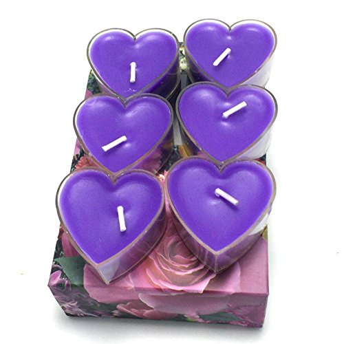 Littras Purple Heart Scented candles 6pcs in one box, floating tealight candles best for Daily household Wedding Birthday Party Candlelight Dinner