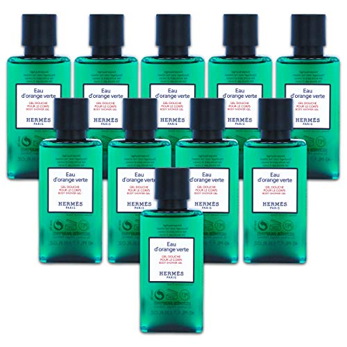 - Ten Hermes Eau d'Orange Verte Luxury Body Shower Gel Douche Pour Le Corps in Bubble Bag - Set of 10 X 1.35 Ounce/40 ML Bottles, Total 13.5 Ounce/400 ML