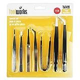 CoWalkers pinzas de precision - Pinzas puntiagudas Pinzas anti-magnéticas, antiácidas Pinzas de acero inoxidable para trabajos de laboratorio, Electrónica, Fabricación de joyas (paquete de 7)