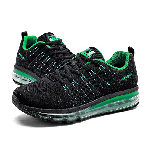 tqgold Mens Womens Trainers Running Shoes Gym Fitness Sports Shoes Athletic Sneakers (Black Green,Size 6)