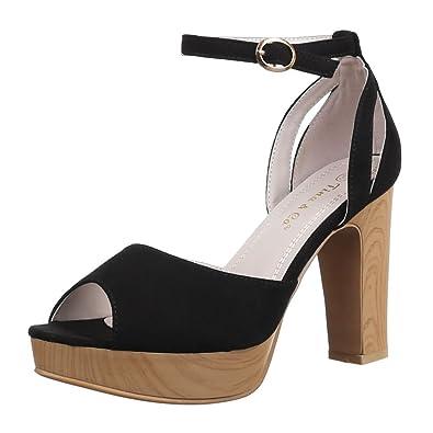 Ital-Design Damen Schuhe B321-SP Sandaletten High Heels Plateau Pumps