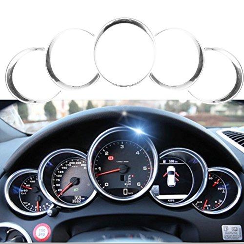 2017 Porsche Carrera - Xotic Tech 5pcs ABS Anodized Dashboard Meter Ring Instrument Frame Trim Covers for Porsche Cayenne 958 2011-2018 Panamera 976 2010-2016 Porsche 911 991 2013-2018 Silver