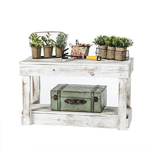 del Hutson Designs Rustic Barnwood Bench w/Shelf, Reclaimed Wood (White) (Distressed Furniture Rustic)