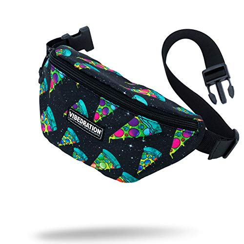 Vibedration Rave Fanny Pack   Waist Bag Perfect for Music Festivals, Hikes, Tailgates & More (Cosmic Pizza)