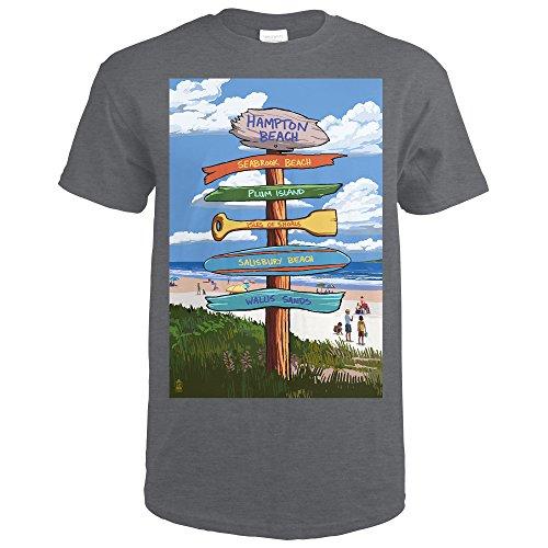 Lantern Press Hampton Beach, New Hampshire - Destination Signpost (Dark Grey Heather T-Shirt XX-Large) (Hampton Post Large)