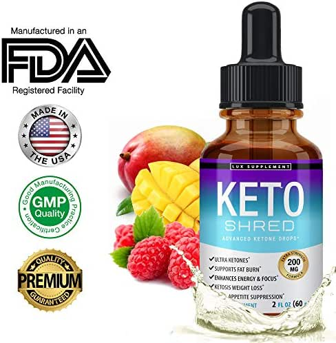 Lux Supplement Keto Shred Drops Liquid Advanced Carb Weight Loss - Raspberry Ketone Fat Burner Blended with African Mango & Garcinia, Suppress Appetite & Cravings, for Men Women, 2 Fl Oz (60 ml)