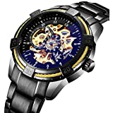 Men's Watches Black Skeleton Mechanical Fashion Business Automatic Punk Style with Stainless Steel Band Wrist Watch