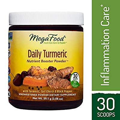 MegaFood - Daily Turmeric Booster Powder, Promotes Healthy Stress and Inflammatory Response with Tart Cherry and Holy Basil Leaf, Vegan, Gluten-Free, Non-GMO, 30 Servings (2.08 oz)