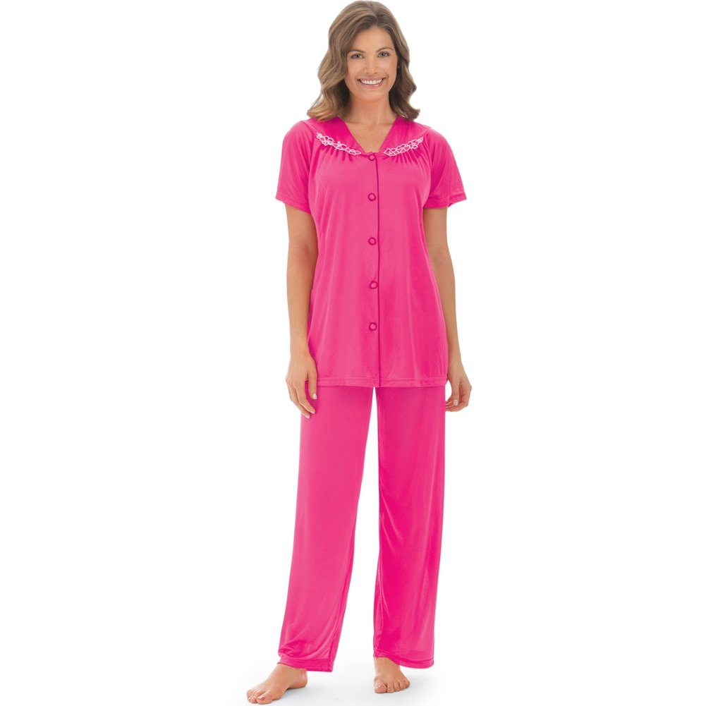 Women's Floral Embroidery Tricot Pajama Set, Fuchsia, Xx-Large