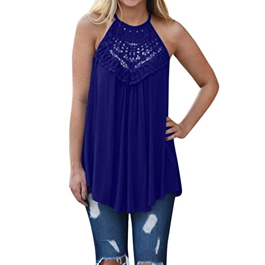 7f4bac8b0eacf Paymenow Women's Sexy Sleeveless Lace Crochet Hollow Out Halter Neck Tank  Tops T Shirt Blouse Camis Vest