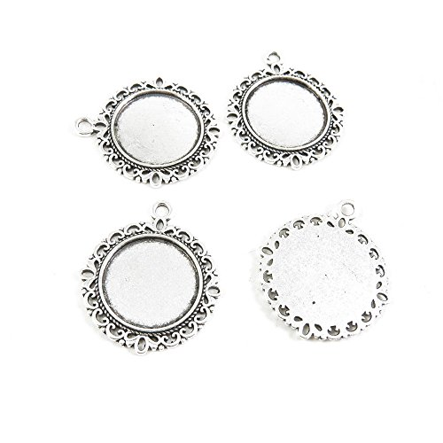 10 Pieces Antique Silver Tone Jewelry Making Supply Charms Filigrees Arts Crafts Beading Findings Crafting E5KX4N Round Cabochon Frame Setting 20mm