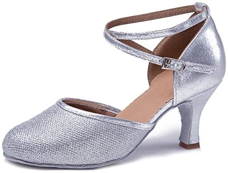 HIPPOSEUS Womens Latin Dance Shoes with Sequins Ballroom Performance Practice Shoes Closed Toe,Model WX-CL