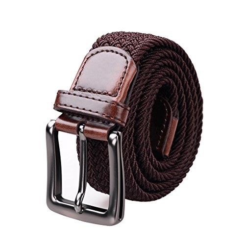 Douguyan Unisex Classic Elastic Stretch Braided Belt Canvas Coffee MYD002CO