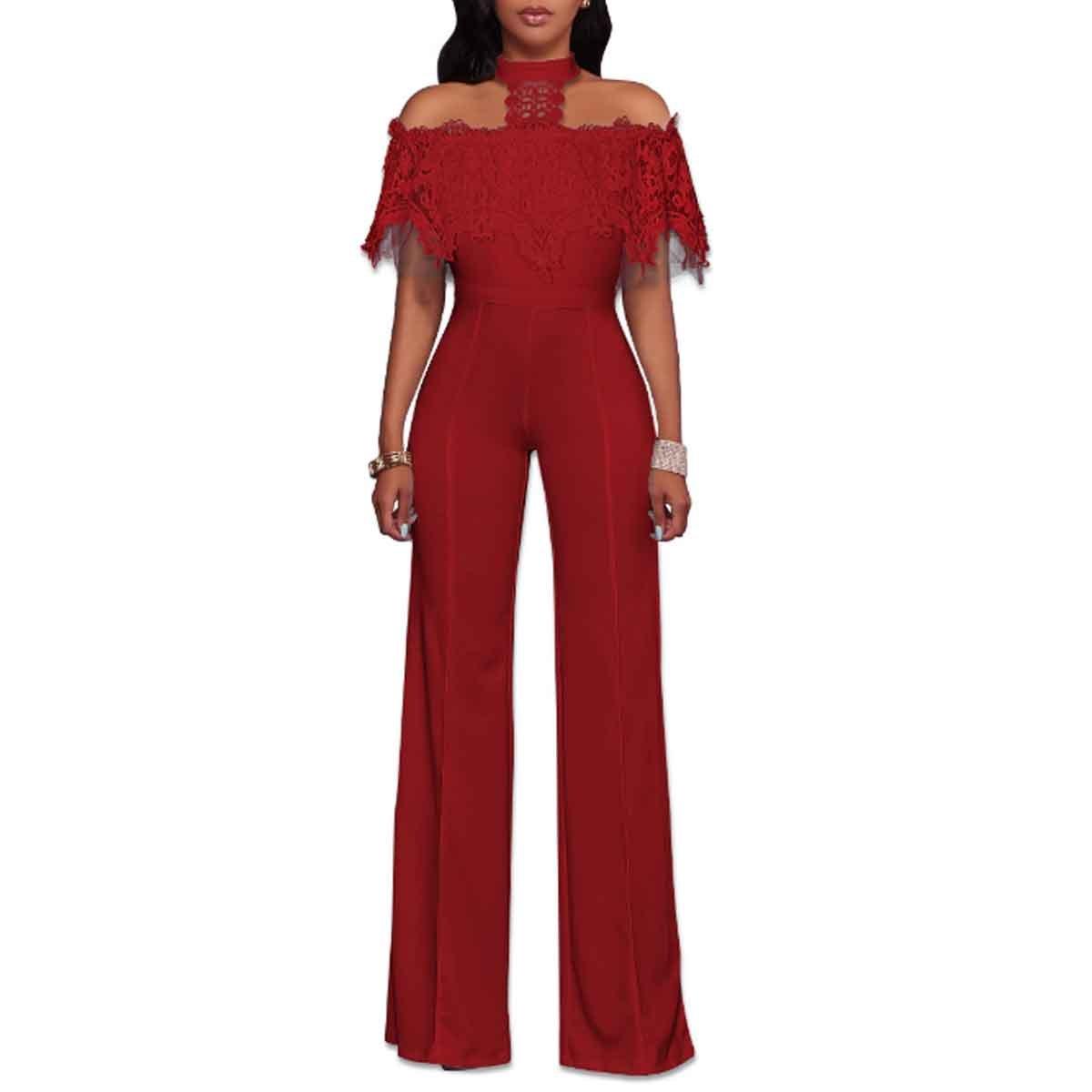 79c3a8e3be9c Amazon.com  HELIDA Womens Off Shoulder Lace Halter High Waist Wide Leg  Pants Jumpsuit Romper  Clothing