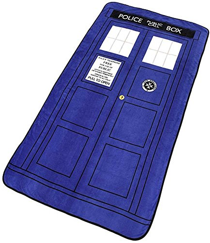 "Doctor Who Blanket - Large Dr. Who TARDIS Micro Raschel Throw - 50"" x 89"""