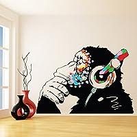 Banksy Wall Stickers - Large Banksy Monkey with Headphones Wall Art - DJ Chimp Thinker in Earphones Decal (60x41 cm)
