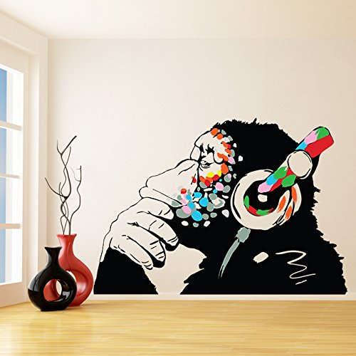 (79'' X 55'') Banksy Vinyl Wall Decal Monkey with Headphones / Colorful Chimp Listening to Music Earphones / Street Art Graffiti Sticker + Free Decal Gift by Slaf Ltd. (Image #6)