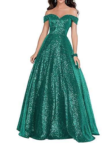 2018 Off Shoulder Sequined Prom Party Dresses for Women A Line Empire Waist Robes Plus Size Formal Evening Skirts Long Elegant Gowns SHPD41 Dark Green Size 20W ()