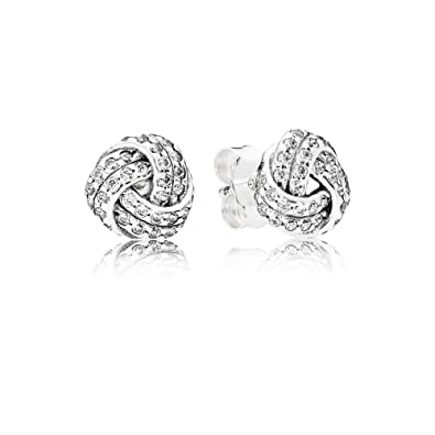 fc48f88ff Amazon.com: PANDORA Sparkling Love Knots Earring Studs 290696CZ: Jewelry