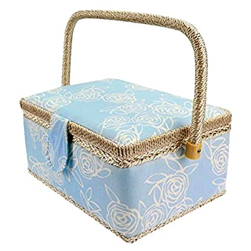 Blue Homyl Fabric Floral Design Vintage Sewing Basket Wood Frame with Fabric Covered Without Sewing Notions Home Storage Box DIY Arts Crafts Supplies