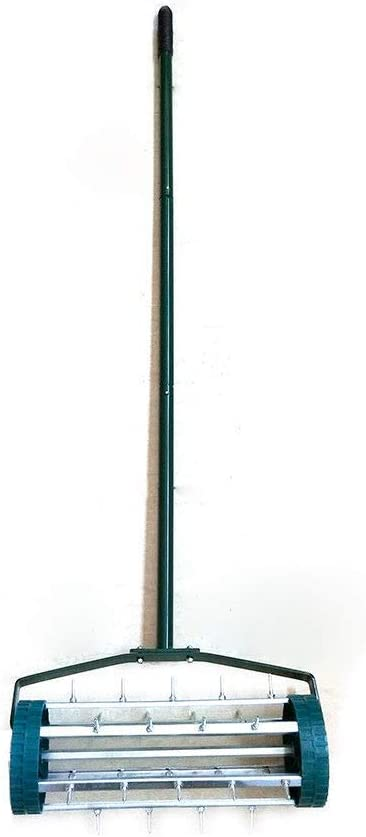 BSTOOL Rolling Garden Lawn Aerator Roller,Yard Rotary Push Tine Spike Soil Aeration Home Grass Steel Handle Heavy Duty