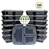 Freshware 150-Pack 3 Compartment Bento Lunch Boxes with Lids - Stackable, Reusable, Microwave, Dishwasher & Freezer Safe - Meal Prep, Portion Control, 21 Day Fix & Food Storage Containers (32oz)