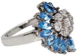 خاتم فضة عيار 925 مرصع بالزيركون والتوباز الأزرق