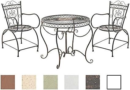 CLP Conjunto de Muebles de Jardín Sheela I Set de 2 Sillas & 1 Mesa de Hierro I Juego de Muebles de Exterior en Estilo Rústico I Color: Bronce: Amazon.es: Jardín