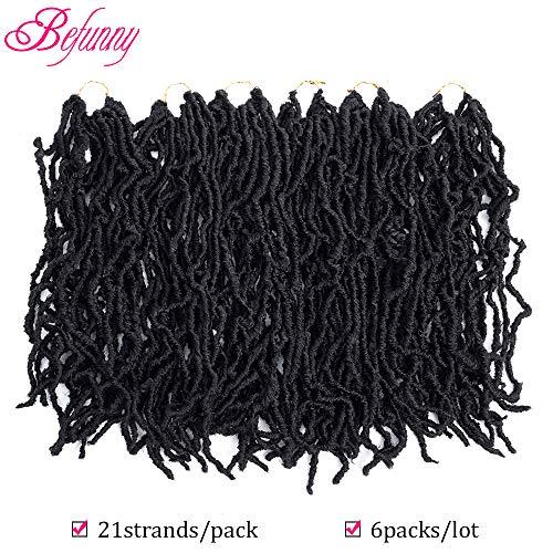 Befunny Goddess Faux Locs Crochet Hair 6 Packs Curly Crochet Goddess Locs Crochet Hair Braids Soft Natural Wavy Pre Looped Dreadlocks Twists Synthetic Braiding Hair For Women(18 Inch, 1B# Black Color)