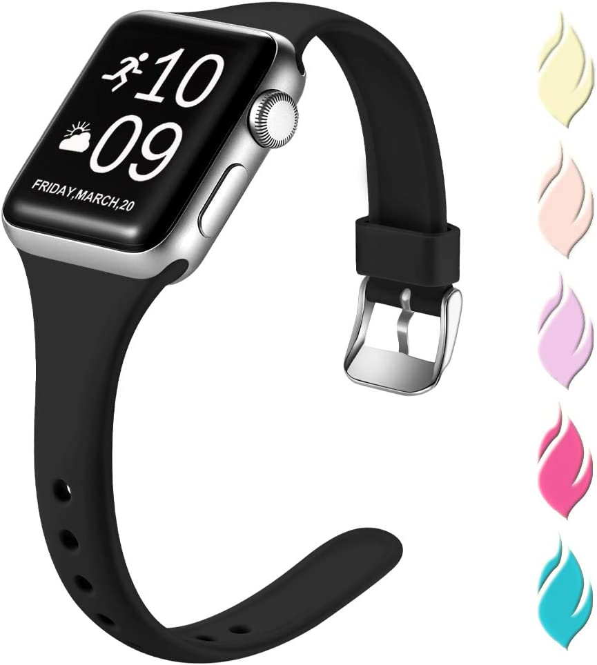 Henva Slim Band Compatible with Apple Watch SE 40mm 38mm, Replacement Accessories Soft Band Wristbands with Stainless Steel Buckle for Apple/iWatch Series 6/5/4/3/2/1, Black, S/M