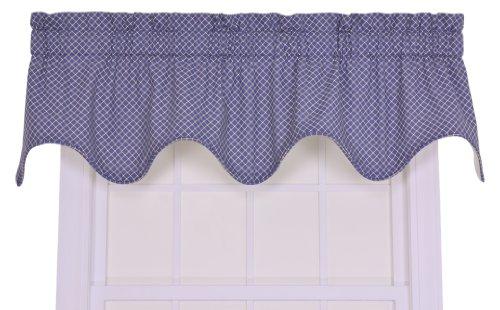 Tyvek Window - Tyvek Small Scale Diamond Lined Scallop Valance Window Curtain, Blue