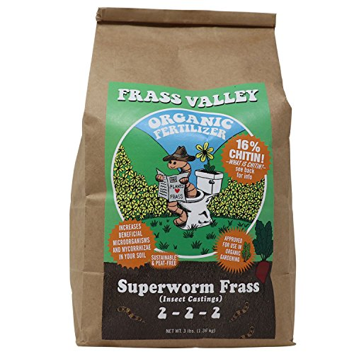 3 LB Superworm Frass - Organic Fertilizer for vegetable, tomato garden,blueberry bushes,root stimulator for plants,apple trees,liquid plant food,all purpose manure worm castings, flower bloom (Fruit Worms)