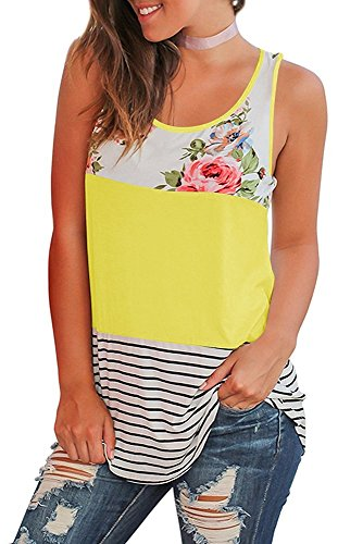Dellytop Women's Summer Sleeveless Floral Print Casual Tank Tops Shirts Blouses, Yellow, Large