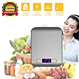 Kitchen Scale Digital, Food Scale Stainless Steel, Electronic Kitchen Baking Measuring Scale Accurate Weight, High Precision Portable Cooking Scale Grams OZ KG LBS for Diet Cake Vintage Vegatable Frui