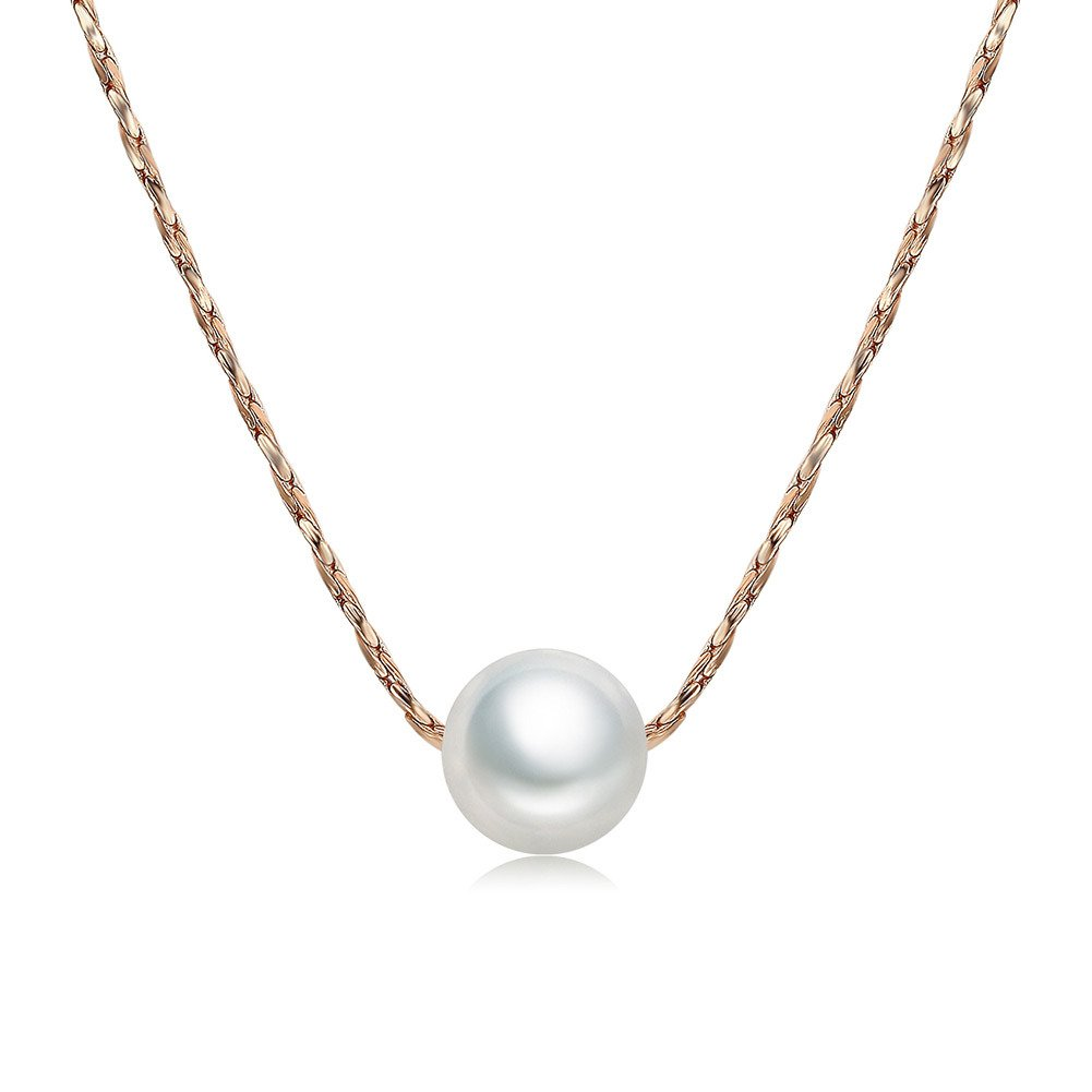 DIFINES Redbarry Rose Gold Plated Chain Solitaire Created Pearl Simple Strand Necklaces Choker Pendant ❤Graduation Gifts❤, 17.72 17.72 yuyue YY00331