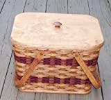 Amish Handmade Small Picnic Basket with Two Swinging Handles. Measures 12'' L X 11'' W X 9'' H What a Useful Basket! Small, Light-weight, and Elegant This Basket Is the Perfect Size for a Quiet Picnic. The Lid and Two Swinging Handles Keep Your Picnic Secure