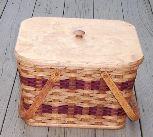 Amish Handmade Small Picnic Basket with Two Swinging Handles. Measures 12