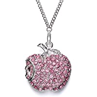 WEITASI Jewelry Crystal Apple Shape USB 2.0 Flash Drive 8GB/16GB/32GB/64GB U Disk With Gift Packaging For PC,Pink Necklace