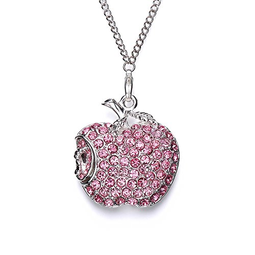 WEITASI Jewelry Crystal Apple Shape USB 2.0 Flash Drive 8GB/16GB/32GB/64GB U Disk With Gift Packaging for Christmas Gift,Pink (Usb Flash Drive Necklace)