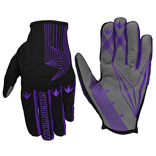 Bunkerkings Featherlite Fly Second Skin Multi-Sport Paintball Gloves with Smartphone Friendly Fingertips - Purple (LG/XL)