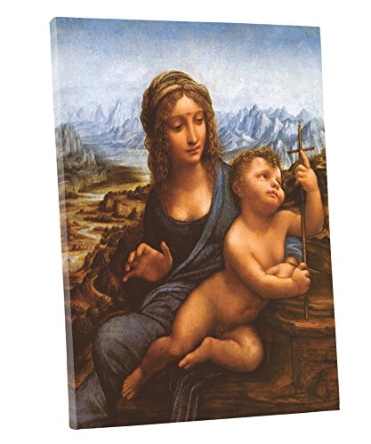 Niwo ART (TM) - The Madonna of the Yarnwinder, by Leonardo DaVinci, Oil painting Reproduction - Giclee Wall Art for Home Decor, Gallery Wrapped, Stretched, Framed Ready to Hang (18