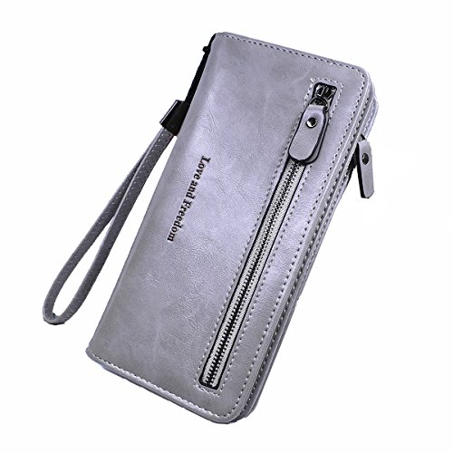 Women Leather Billfold Long Wallet Clutch Zipper Money Clip Wristlet Strap- Laimi duo(grey) by Laimi Duo