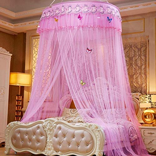 Elegant Gauze Lace Bed Canopy Curtain Round Dome Hanging Mosquito Net Baby Princess Bedding Netting - Mosquito Net