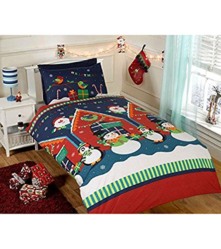 Father Christmas Kids Xmas Snowman Penguin Santa Quilt Duvet Cover Bedding Bed Set - UK Single / US Twin