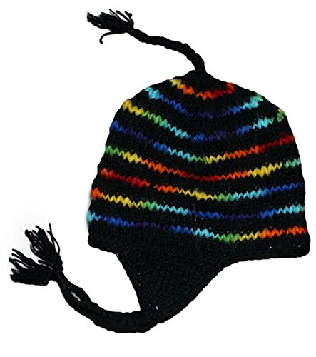 - Sherpa Designs Hand Knit Unisex Wool Beanie Hat Ear Flap Fleece Lined Nepal (Black with Color)