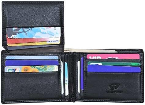 Mens Vintage Trifold Wallets RFID Blocking Leather Credit Card Holder Wallet