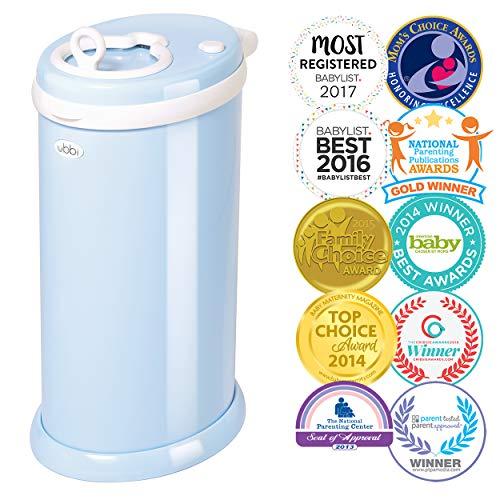 Ubbi Steel Odor Locking, No Special Bag Required Money Saving, Awards-Winning, Modern Design Registry Must-Have Diaper Pail, Light Blue