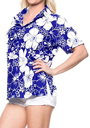 LA LEELA Likre Camp Aloha Beach Top Shirt Royal Blue 168|L - US 38 - 40D