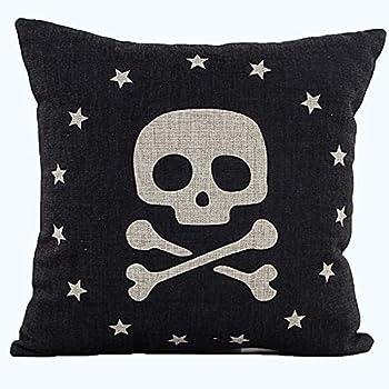 L&J.ART® High Quality 45cmx45cm 18''x18'' Vintage Black Caribbean Pirate Linen Throw Pillow Case Cushion Cover DS8